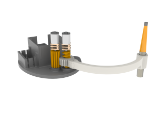 Design of the new end-effector showing the unique spindle and gear mechanism to actuate the up and down movement by the spindle and rotating by the gears.