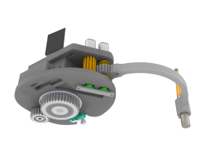 Design of the new end-effector showing the gear wheels for actuating the third degree of freedom.
