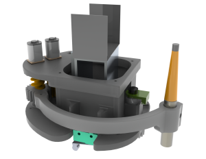Design of the new end-effector in its collapsed state so that the robot arm can be folded during travel through the ship.